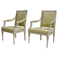 Pair of Gustavian Grey Painted Arm Chairs.