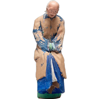Chinese Sculptured And Painted Clay Figure Of An Elderly Man.19th century