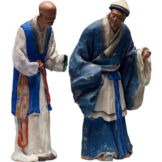 Two Chinese Figures In Sculptured And Painted Clay. 19th Century.