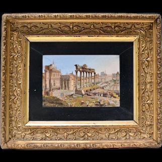 Italian Grand Tour Mosaic Souvenir Of Forum Romanum With Label From RVF Fabbrico Di S. Pietro In Vaticano. 19th Century.