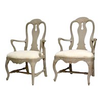 Pair Of Swedish 18th Century Rococo Armchairs