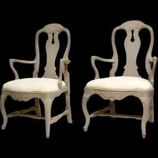Pair Of Swedish 18th Century Rococo Armchairs