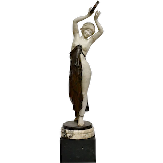Marble And Bronze Sculpture Of A Dancing Woman Holding A Tambourine, 19th Century