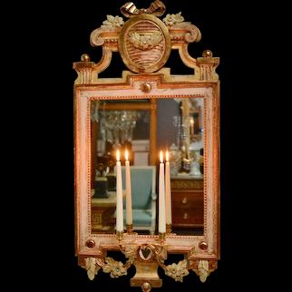 Gustavian 18th Century Giltwood Girandole, Signed Johan Akerblad