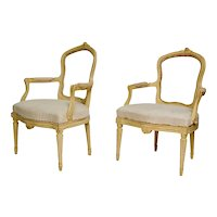 Pair Of Swedish Gustavian Armchairs, 18th Century