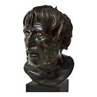A 19th Century Italian Bronze Bust of Seneca , After The Antique