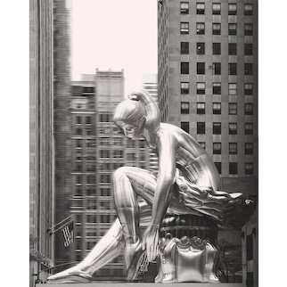 Seated Ballerina, 2017 Summer Installation By Jeff Koons, On Display At Rockefeller Center, New York. (Masterpiece)