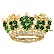 Beautiful Tourmaline and Diamond Crown Pin Brooch