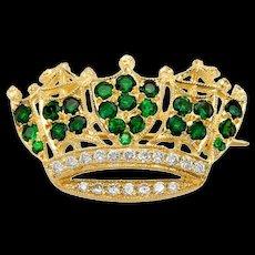 Beautiful Tourmaline and Diamond Crown Pin Brooch