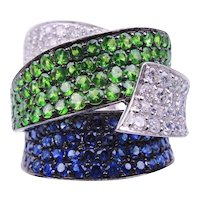 Tsavorite Sapphire Diamond Gold Band Ring
