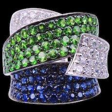 Tsavorite Sapphire Diamond Gold Band Ring