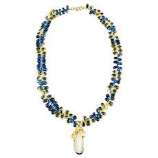 Sapphire Citrine Briolettes Pearl Briolettes Necklace