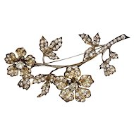 Crystal Silver Tremblant Flower Brooch Pin
