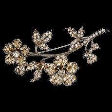Crystal Silver Tremblant Flower Brooch Pin