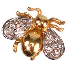 Whimsical Diamond Gold Fly Pin