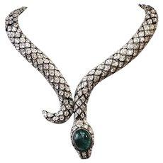 Snake Crystal encrusted Serpent Sterling Necklace