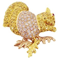 Natural Pink and Yellow Diamond Gold Squirrel Pin Brooch