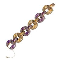 Amethyst Citrine Link Bracelet