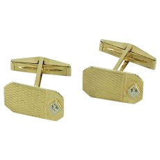 Retro Diamond Gold Cufflinks