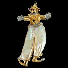 Pearl Multi-Gem Gold Clown Pin Pendant