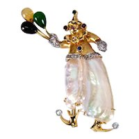 Pearl Multi-Gem Gold Balloon Clown Pin Pendant