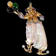 Pearl Multi-Gem Gold Balloon Clown Pin Pendant