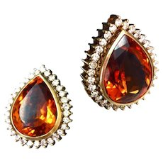 Mandarin Citrine Diamond Earrings
