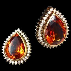 Mandarin Citrine Diamond Earrings