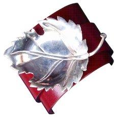 Sterling Silver Leaf Leather Cuff Bracelet