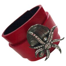 CZ Starfish Leather Cuff Bracelet