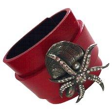 CZ Starfish Leather Cuff Bracelet