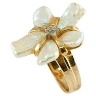Modernist Free-form Pearl Petals Diamond Ring