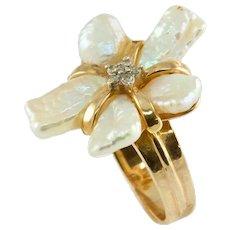 Modernist Free-form Pearl Petals Diamond Ring