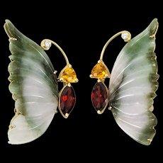 Jade Garnet Citrine Diamond Butterfly Brooches
