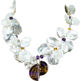 Keshi Pearl Necklace and Ametrine Demi Lune Gold Pendant