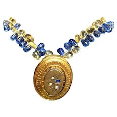 Victorian Mourning Locket and Sapphire Citrine Briolettes Necklace