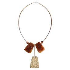Natural Citrine Quartz and Sterling Silver Necklace