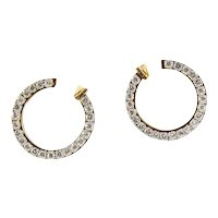 Circle of Diamonds Hoop Gold Earrings