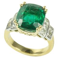 7.60 Carat Cushion Cut Emerald Diamond Gold Ring