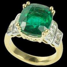 7.60 Carat Cushion Cut Emerald Diamond Gold Ring