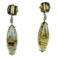 Unique Rutilated Quartz Diamond Gold Earrings