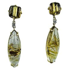 Unique Rutilated Quartz Diamond Gold Earrings