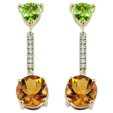 Peridot Citrine Diamond Gold Drop Earrings