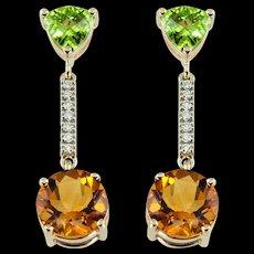 Peridot Citrine Diamond Gold Drop Earrings