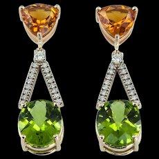 Citrine Peridot Diamond Gold Drop Earrings
