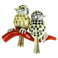 Sapphire Gold Birds Perched on a Coral Branch Pin