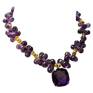 Teardrop Amethyst Citrine Diamond Gold Necklace