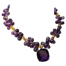 Teardrop Amethyst Citrine Diamond Gold Necklace