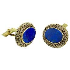 Exquisite Oval Lapis Lazuli Braided Gold Cufflinks c1960s