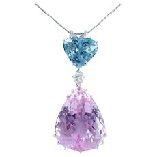 29.6ct Pink Kunzite Aquamarine Heart Diamond Gold Pendant
